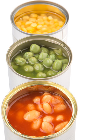 canned peas: Baked beans, green peas and sweet corn in tin can over white background