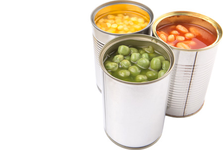 canned food: Baked beans, green peas and sweet corn in tin can over white background