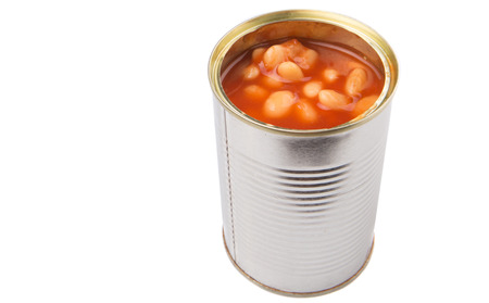 Baked bean in a tin can over white background