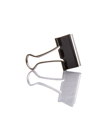 squeeze shape: Binder clip over white background
