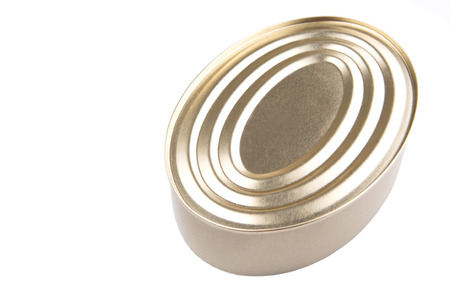 Oval shaped tin can over white background Stock Photo