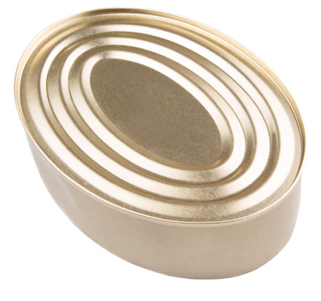 tinned: Oval shaped tin can over white background Stock Photo