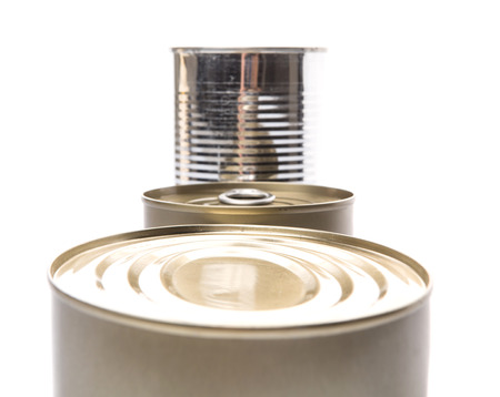Tin cans over white background Stock Photo