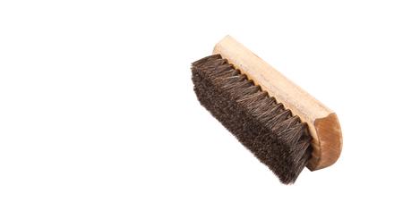 scrubber: Wooden shoe shine polish brush over white background