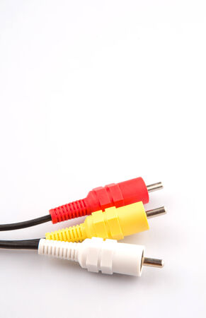 Audio and video cinch connector over white background photo