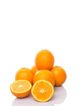 flesh colour: Orange fruits over white background