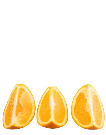 flesh colour: Slices of orange fruit over white background