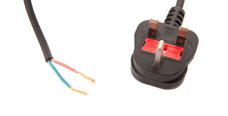 wire pin: British Standard three pin AC power plugs and exposed electrical wire over white background