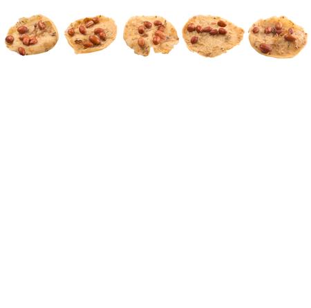 hardened: Rempeyek or peyek, a popular traditional deep-fried savoury Malaysian Javanese cracker over white background
