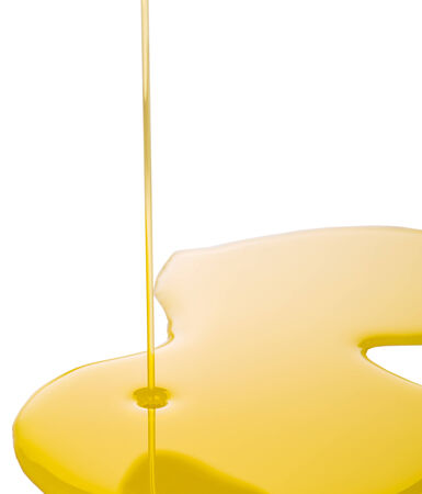 Pouring olive oil on white surface Stock Photo