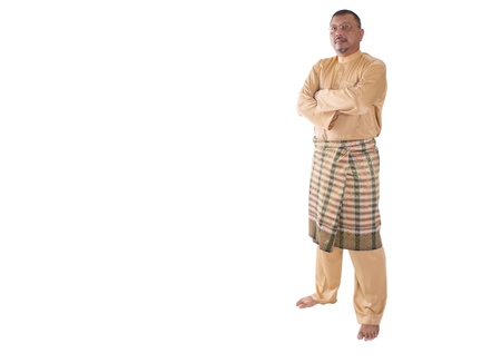 age: Middle age Malay man in traditional attire over white background