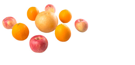 Gala apples, Nashi Asian pears and oranges over white background photo