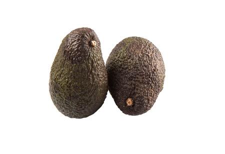 hass: Ripe avocado fruit over white background Stock Photo