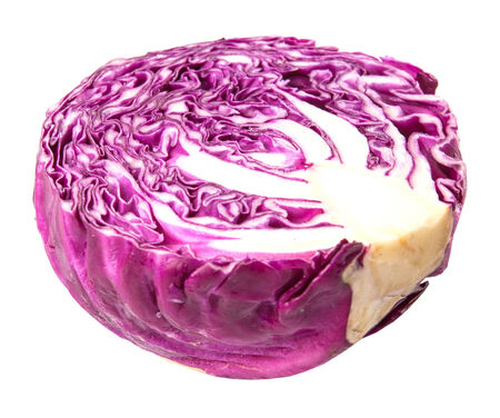 half cut: Half cut red cabbage over white background