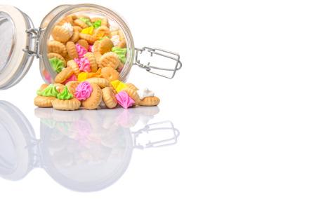 ombligo: Belly bot�n helado galletas gema en un frasco de vidrio Foto de archivo
