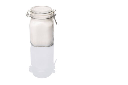 granulated: Granulated sugar in glass jar container