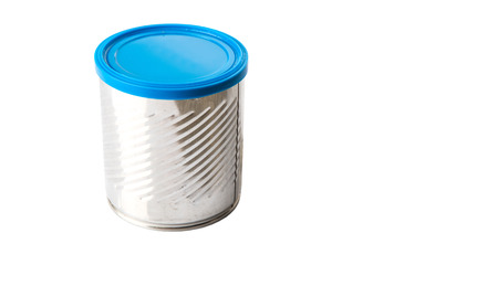 Empty tin can with blue lid over white background Stock Photo