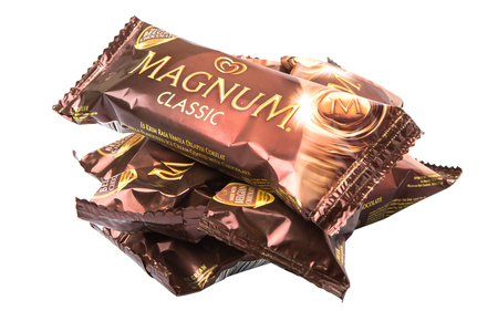 KUALA LUMPUR, MALAYSIA - JANUARY 3RD, 2015. Unilever\'s Magnum Classic ice cream. Unilever is the world\'s third-largest consumer goods multinational company and owns over 400 products.