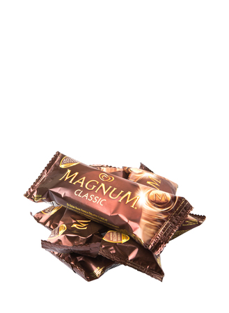 magnum: KUALA LUMPUR, MALAYSIA - JANUARY 3RD, 2015. Unilevers Magnum Classic ice cream. Unilever is the worlds third-largest consumer goods multinational company and owns over 400 products.