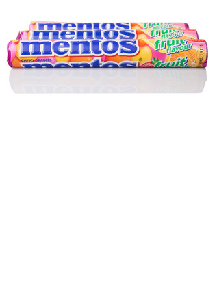 melle: KUALA LUMPUR, MALAYSIA - JANUARY 11TH, 2015. Mentos Fruit scotch mints. Mentos is sold in more than 130 countries by Perfetti Van Melle, Italian global manufacturer of confectionery and gum.