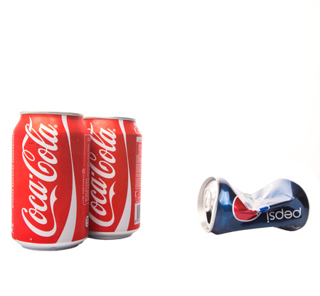 KUALA LUMPUR, MALAYSIA - JANUARY 14TH, 2015. Pepsi and Coca Cola soft drinks. Since the 1980s both company has been involved in mutually-targeted TV ads marketing campaign dubbed as the COLA WARS.
