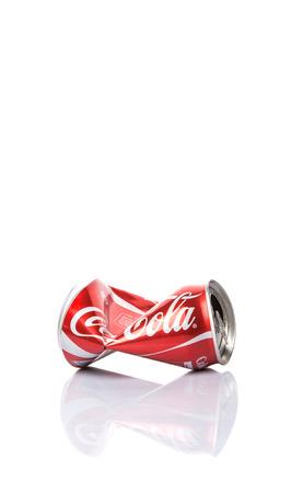Kuala Lumpur, Malaysia, January 14, 2015 : Crumpled Coca Cola can.