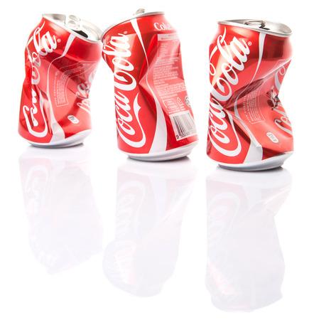 cola canette: Kuala Lumpur, Malaysia - January 14, 2015 : A group of crumpled Coca Cola cans.
