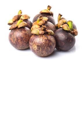 fibrous: Ripe mangosteen fruit over white background