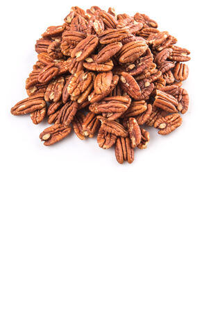 oblong: Pecan nut over white background