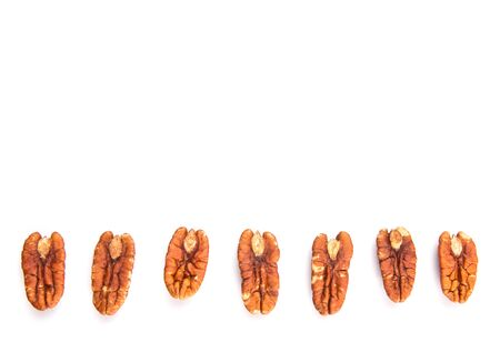 hickory nuts: Pecan nut over white background