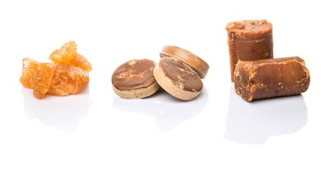 coconut sugar: Palm sugar, coconut sugar and sugar cane rock  over white background