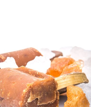coconut sugar: Palm sugar, coconut sugar, sugar cane rock and white rock sugar over white background