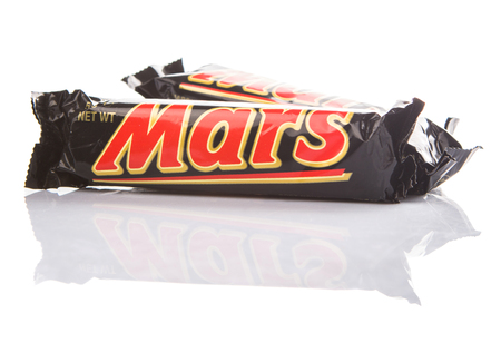 manufactured: KUALA LUMPUR - JANUARY 21ST 2015. Mars chocolate bars. Mars bar was first manufactured in Slough, United Kingdom by Mars Incorporated and has been sold in worldwide consumer market.