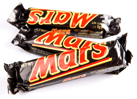 KUALA LUMPUR - JANUARY 21ST 2015. Mars chocolate bars. Mars bar was first manufactured in Slough, United Kingdom by Mars Incorporated and has been sold in worldwide consumer market.