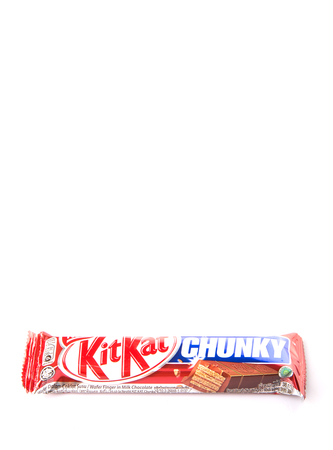 acquired: KUALA LUMPUR MALAYSIA, JANUARY 26TH 2015. Kit Kat is a chocolate covered wafer bar created in 1911 by Rowntrees of York, England. Nestle which acquired Rowntree in 1988 now sells Kit Kat globally.