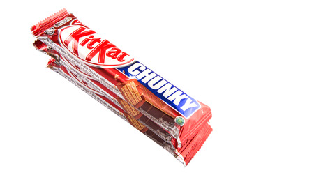 snapped: KUALA LUMPUR MALAYSIA, JANUARY 26TH 2015. Kit Kat is a chocolate covered wafer bar created in 1911 by Rowntrees of York, England. Nestle which acquired Rowntree in 1988 now sells Kit Kat globally.