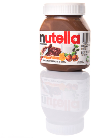 ferrero: KUALA LUMPUR, MALAYSIA - JANUARY 28TH 2015. First introduced in 1964 Nutella is the brand name of an Italian sweetened hazelnut chocolate spread and manufactured by the Italian company Ferrero.