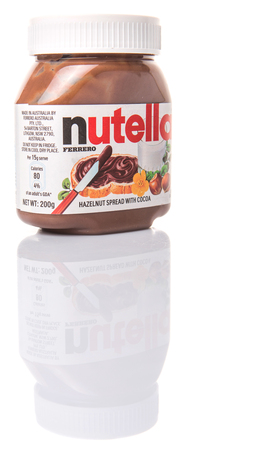 nutella: KUALA LUMPUR, MALAYSIA - JANUARY 28TH 2015. First introduced in 1964 Nutella is the brand name of an Italian sweetened hazelnut chocolate spread and manufactured by the Italian company Ferrero.