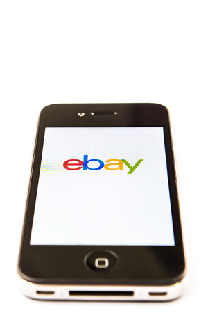 e auction: KUALA LUMPUR, MALAYSIA - JANUARY 28TH 2015. Ebay App. Founded in 1995, eBay Inc. is an American multinational and e-commerce corporation which manages eBay.com, an online auction and shopping website.