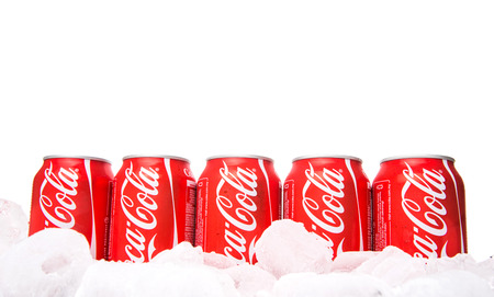 KUALA LUMPUR, MALAYSIA - FEBRUARY 2ND 2015. Coca Cola drinks on ice. Coca Cola drinks are produced and manufactured by The Coca-Cola Company, an American multinational beverage corporation.