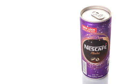 KUALA LUMPUR, MALAYSIA - FEBRUARY 13TH 2015. Nescafe Mocha can drink. Nescafe is an instant coffee made by Nestle, a Swiss multinational food and beverage company, first introduced on April 1, 1938.