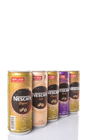 KUALA LUMPUR, MALAYSIA - FEBRUARY 13TH 2015. Nescafe can drink. Nescafe is a brand of instant coffee made by Nestle, a Swiss multinational food and beverage company, first introduced on April 1, 1938. Editorial