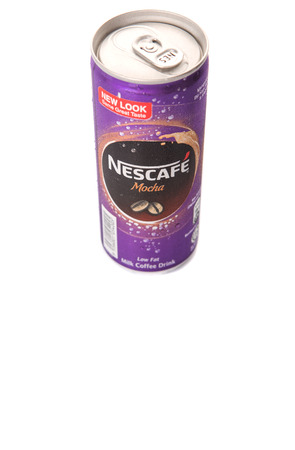 nescafe: KUALA LUMPUR, MALAYSIA - FEBRUARY 13TH 2015. Nescafe Mocha can drink. Nescafe is an instant coffee made by Nestle, a Swiss multinational food and beverage company, first introduced on April 1, 1938.