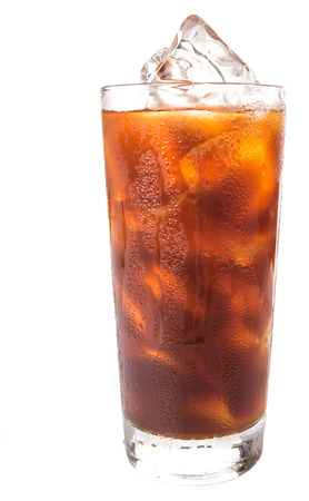 Plain ice coffee over white background Stock Photo