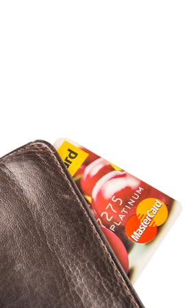 mastercard: KUALA LUMPUR, MALAYSIA - FEBRUARY 19TH 2015. Mastercard credit card in wallet. Founded in 1966, MasterCard Incorporated is an American multinational financial services corporation. Editorial