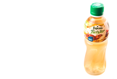 tropicana: KUALA LUMPUR, MALAYSIA - FEBRUARY 22ND 2015. Tropicana bottled apple fruit juices. Tropicana Products Inc. is an American fruit juice multinational company and has been owned by PepsiCo since 1998.