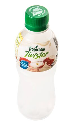 lychee juice: KUALA LUMPUR, MALAYSIA - FEBRUARY 22ND 2015. Tropicana bottled lychee fruit juices. Tropicana Products Inc. is an American fruit juice multinational company and has been owned by PepsiCo since 1998.