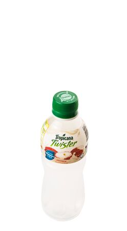 tropicana: KUALA LUMPUR, MALAYSIA - FEBRUARY 22ND 2015. Tropicana bottled lychee fruit juices. Tropicana Products Inc. is an American fruit juice multinational company and has been owned by PepsiCo since 1998.