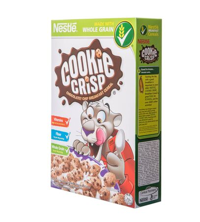 nestle: KUALA LUMPUR, MALAYSIA - FEBRUARY 24TH 2015. Nestle Cookie Crisp. Nestle SA is a Swiss multinational food and beverage company and is the largest food company in the world.