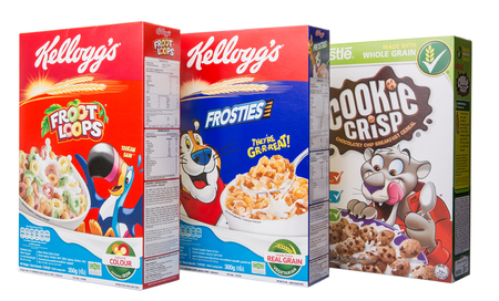KUALA LUMPUR, MALAYSIA - FEBRUARY 24TH 2015. Kellogs cereal. Founded in 1906 Kellogg\'s is an American multinational food manufacturing company which products are sold in over 180 countries worldwide.